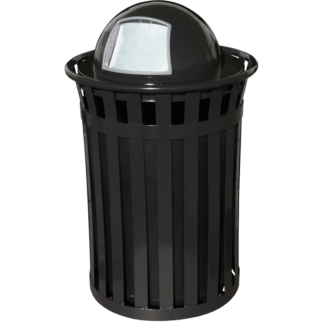 Witt Industries Oakley Collection Dome Top 36 Gallon Steel Trash Receptacle - M3601-DT-BK - Trash Cans Depot