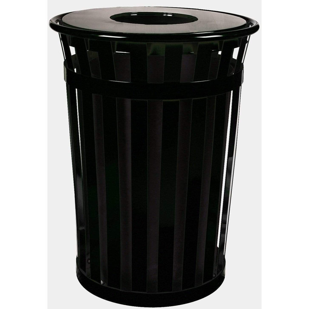 Witt Industries Oakley Collection Flat Top 36 Gallon Steel Trash Receptacle - M3601-FT-BK - Trash Cans Depot