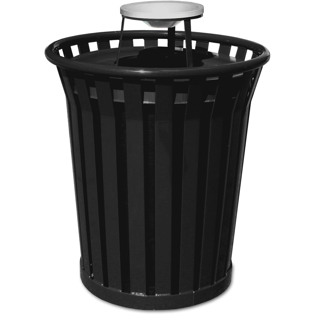 Witt Industries Wydman Collection Ash Top 36 Gallon Steel Trash Receptacle - WC3600-AT-BK - Trash Cans Depot