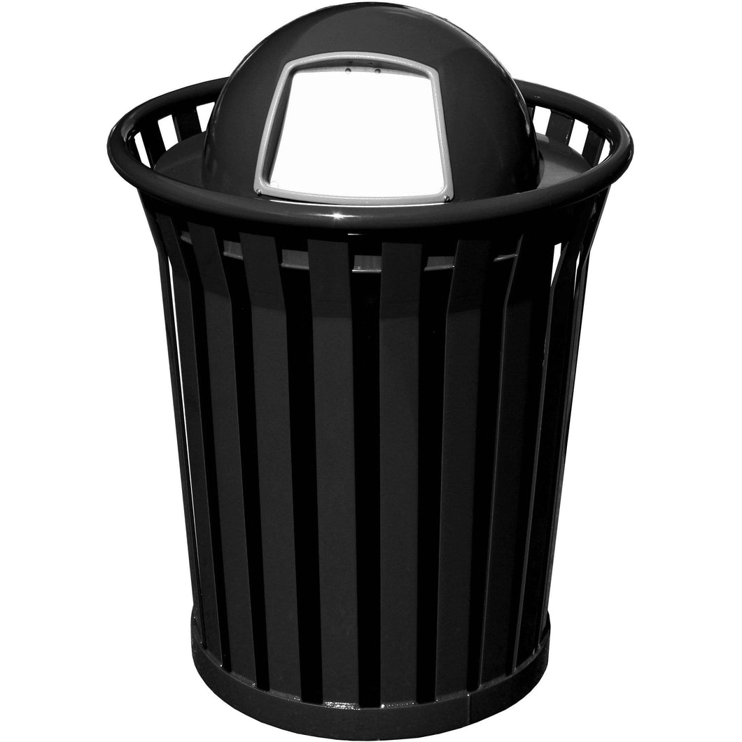 Witt Industries Wydman Collection Dome Top 36 Gallon Steel Trash Receptacle - WC3600-DT-BK - Trash Cans Depot
