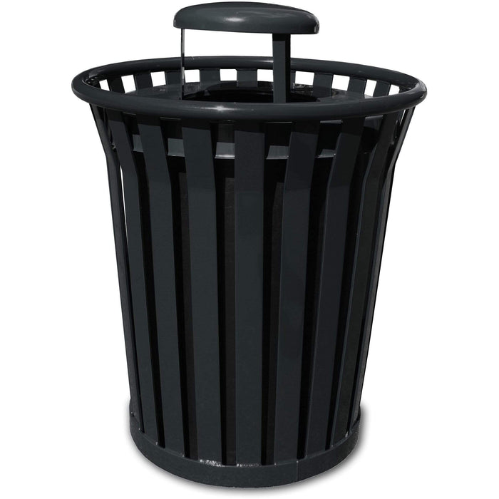 Witt Industries Wydman Collection Rain Cap 36 Gallon Steel Trash Receptacle - WC3600-RC-BK - Trash Cans Depot