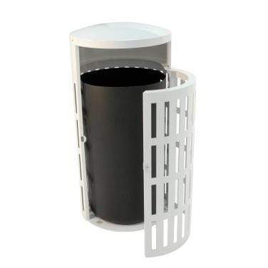 Wausau Made Side Entry Door 41 Gallon Steel Trash Receptacle - MF3302 - Trash Cans Depot