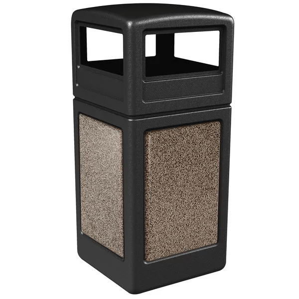 Commercial Zone StoneTec 42 Gallon Plastic Square Dome-Lid Waste Container - 72045299 - Trash Cans Depot