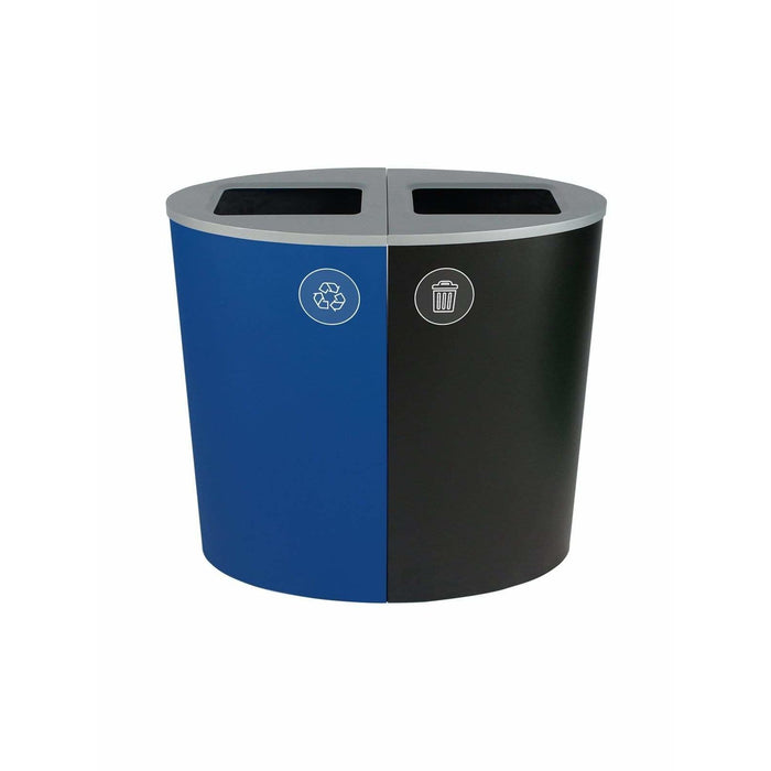 Busch Systems Spectrum 44 Gallon Ellipse Double Stream Steel Recycling Receptacle - 101167 - Trash Cans Depot