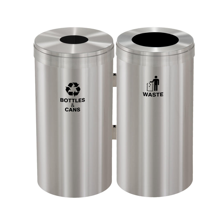 Glaro Two Stream Round Hole 46 Gallon Recycling Bin - BW-1542SA-SA - Trash Cans Depot
