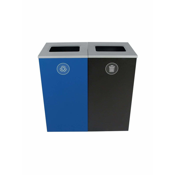 Busch Systems Spectrum 48 Gallon Cube Double Stream Steel Recycling Receptacle - 101183 - Trash Cans Depot