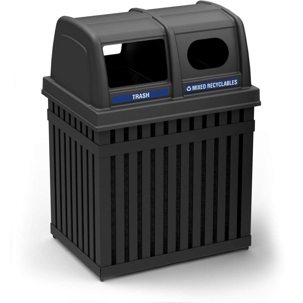 Commercial Zone ArchTec 50 Gallon Steel Parkview 2 Waste and Recycling Center - 72720199 - Trash Cans Depot