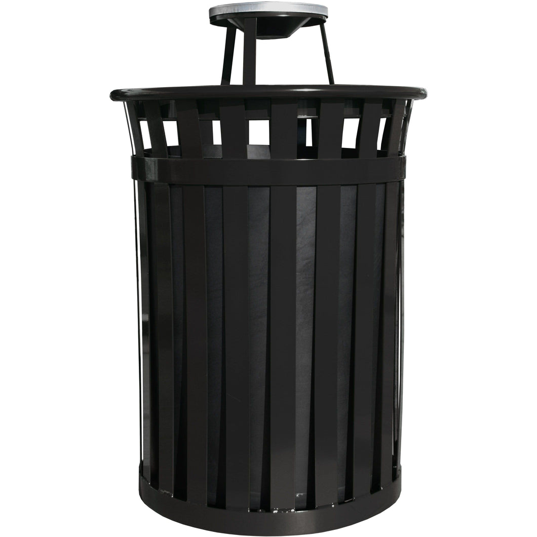 Witt Industries Oakley Collection Ash Top 50 Gallon Steel Trash Receptacle - M5001-AT-BK - Trash Cans Depot
