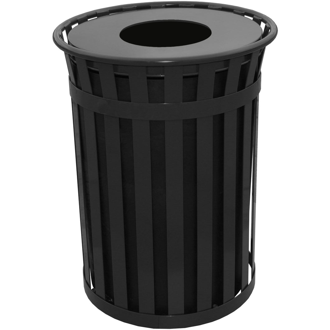 Witt Industries Oakley Collection Flat Top 50 Gallon Steel Trash Receptacle - M5001-FT-BK - Trash Cans Depot