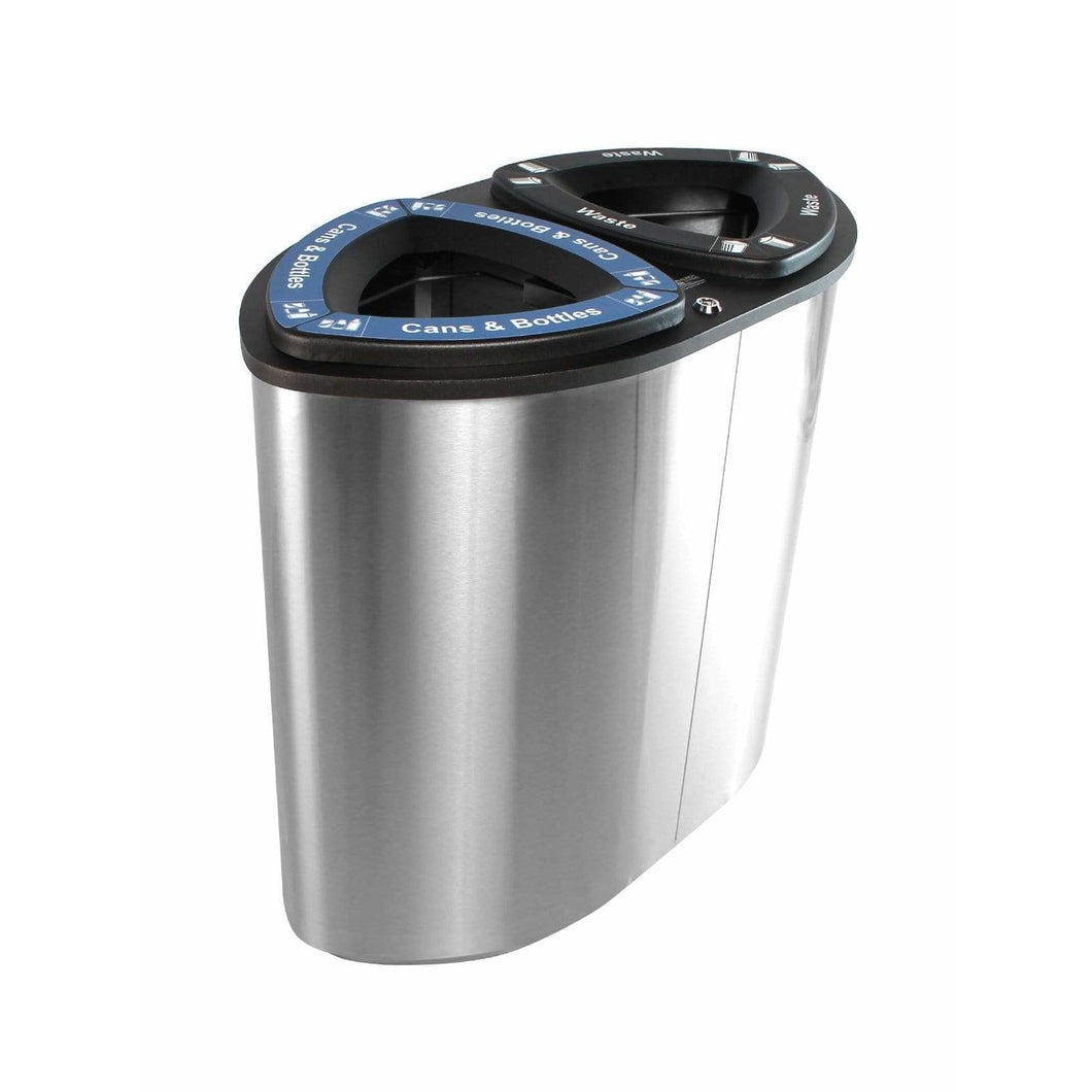 Busch Systems Boka 52 Gallon Double Stream Stainless Steel Recycling Receptacle - 101227 - Trash Cans Depot