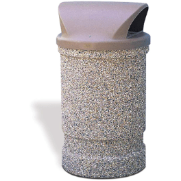 Wausau Tile 2 Way Dome Top 53 Gallon Concrete Trash Receptacle - TF1130 - Trash Cans Depot