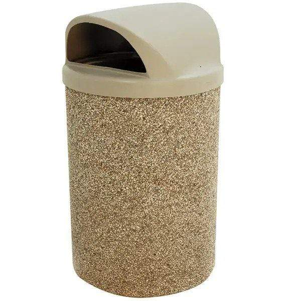Wausau Tile 2 Way Dome Top 53 Gallon Concrete Trash Receptacle - TF1150 - Trash Cans Depot