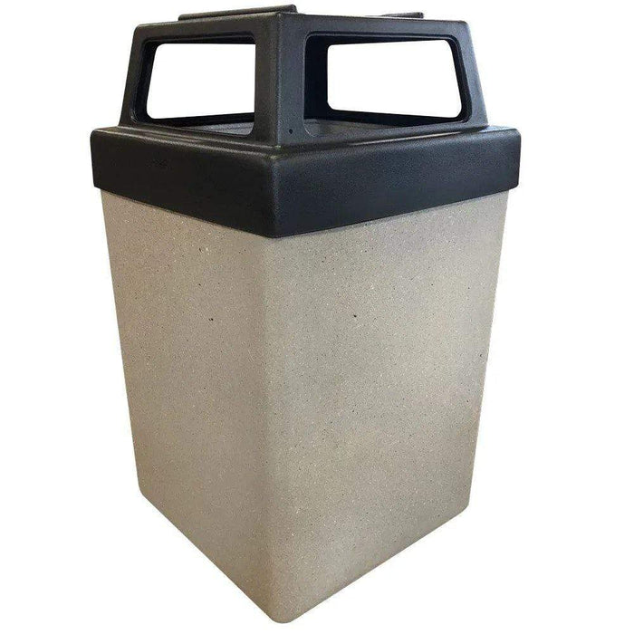Wausau Made 4 Way Open Top 53 Gallon Concrete Trash Receptacle - TF1040 - Trash Cans Depot