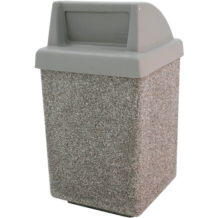 Wausau Made Push Door Top 53 Gallon Concrete Trash Receptacle - TF1030 - Trash Cans Depot