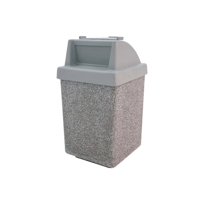 Wausau Tile Tray Caddy Top 53 Gallon Concrete Trash Receptacle - TF1035 - Trash Cans Depot