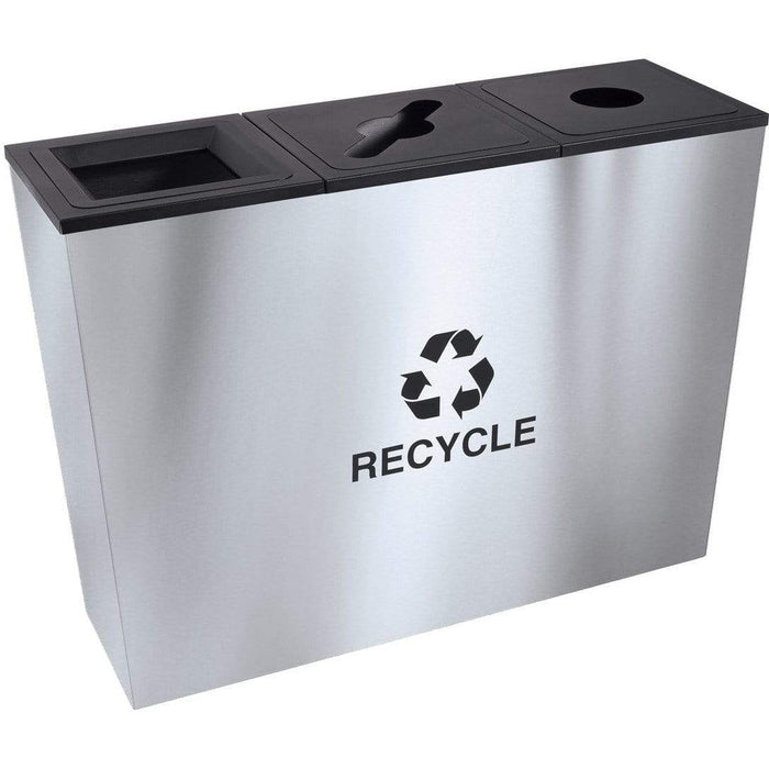 Ex-Cell Kaiser Metro Collection 54 Gallon Three Stream Stainless Steel Recycling Receptacle - RC-MTR-3 SS - Trash Cans Depot