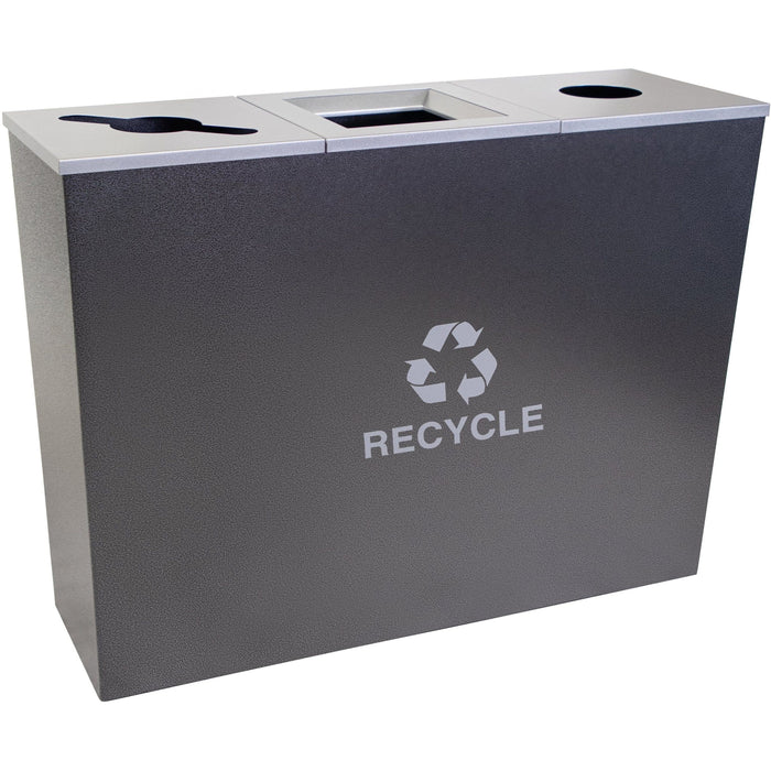 54 Gallon Recycling Bin - Ex-Cell Kaiser Metro Collection 54 Gallon Three Stream Steel Recycling Receptacle - RC-MTR-3 HCCL