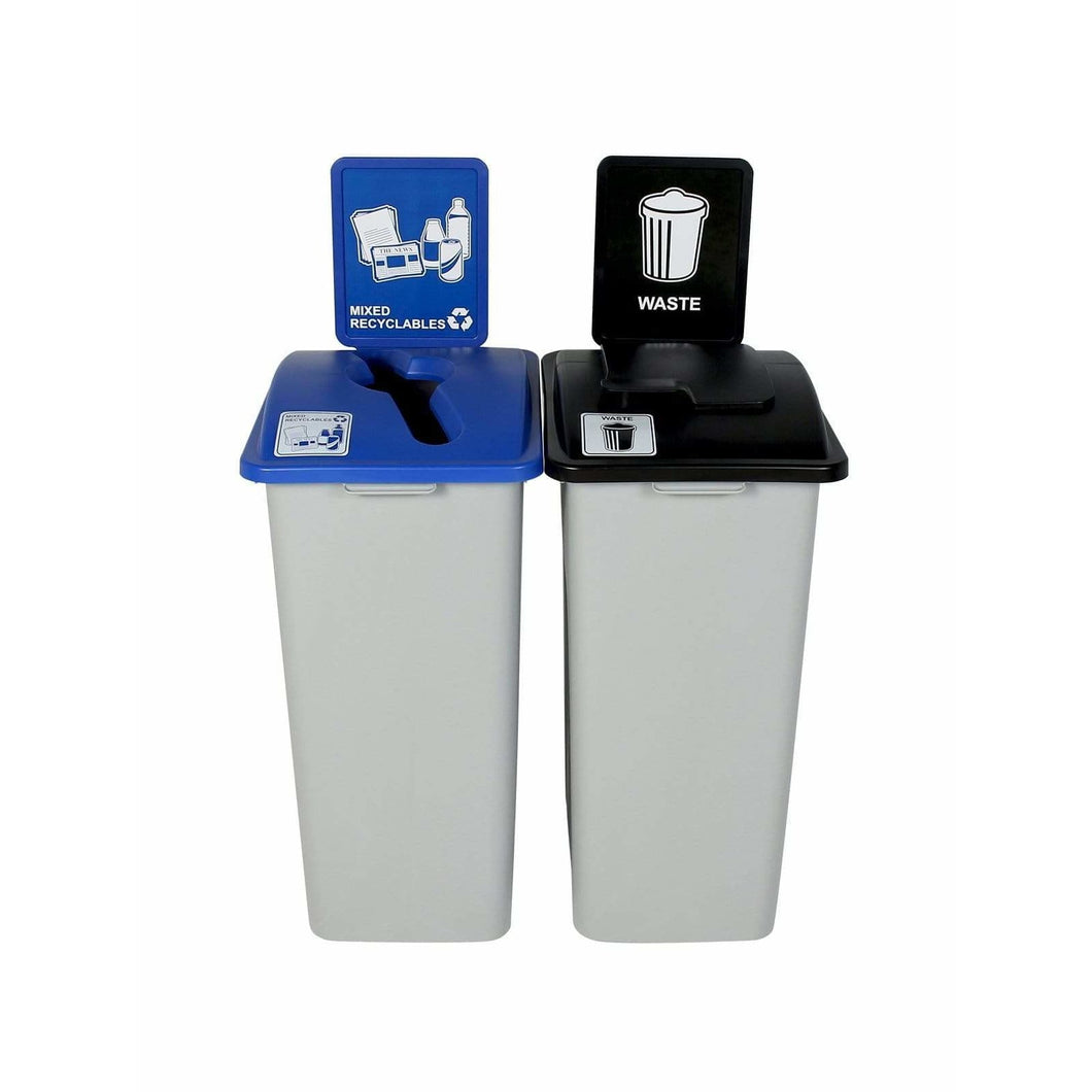 Busch Systems Waste Watcher XL 64 Gallon Double Stream Plastic Recycling Receptacle - 101325 - Trash Cans Depot