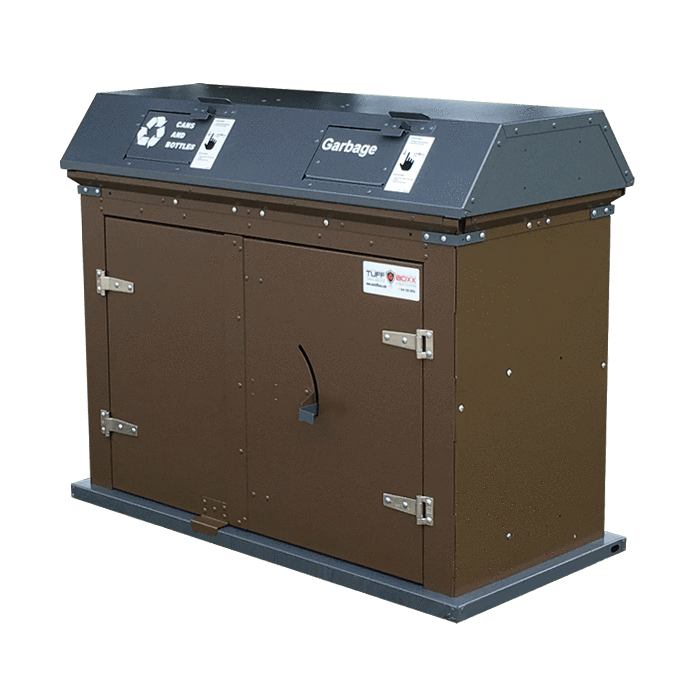 TuffBoxx Camper Animal Resistant Dual Stream 64 Gallon Steel Trash Receptacle - 453-005 - Trash Cans Depot