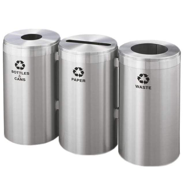 Glaro Three Stream Round Hole/Slot 69 Gallon Recycling Bin - BPW-1542SA-SA - Trash Cans Depot