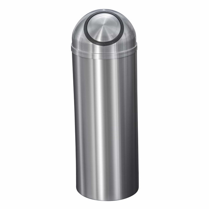 Glaro New Yorker Self Closing Dome Top 8 Gallon Satin Aluminum Trash Can - S1230SA-SA - Trash Cans Depot
