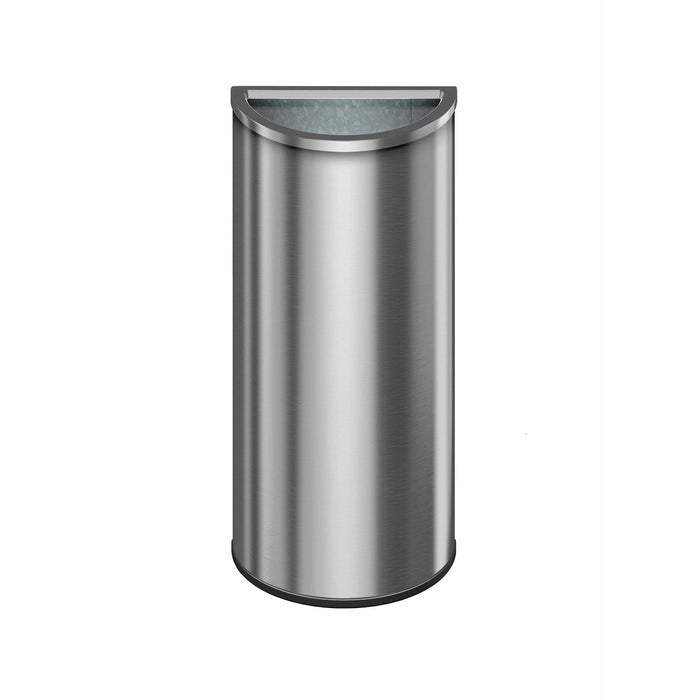Suncast Commercial Crescent Open Top 8 Gallon Stainless Steel Trash Can - MTCRES801 - Trash Cans Depot