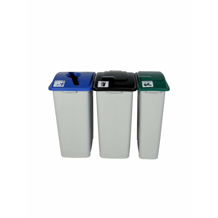 Busch Systems Waste Watcher XL 87 Gallon Triple Stream Plastic Recycling Receptacle - 101335 - Trash Cans Depot