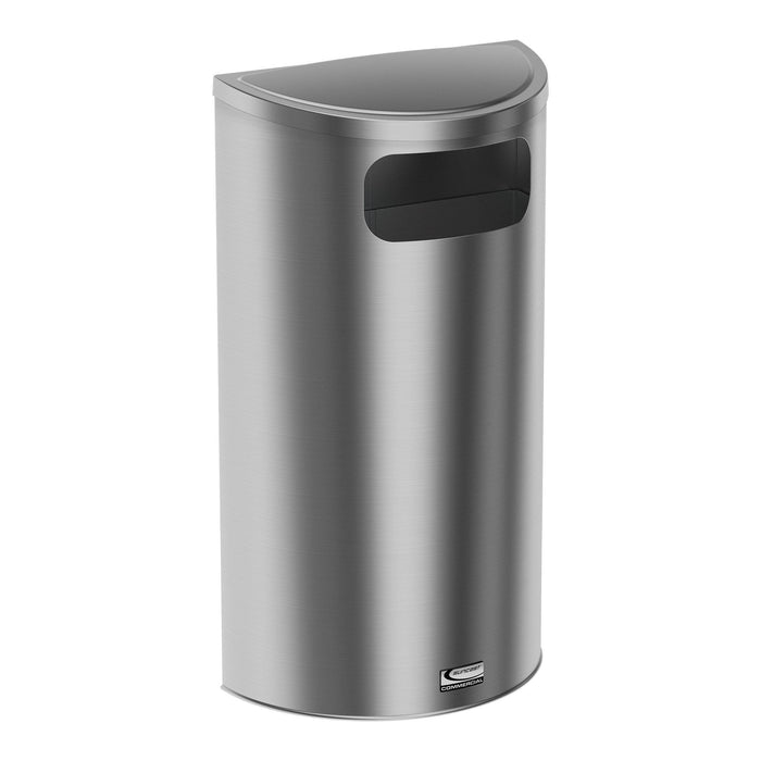 Suncast Commercial Accent Side Load 9 Gallon Stainless Steel Trash Can - MTCRES900 - Trash Cans Depot