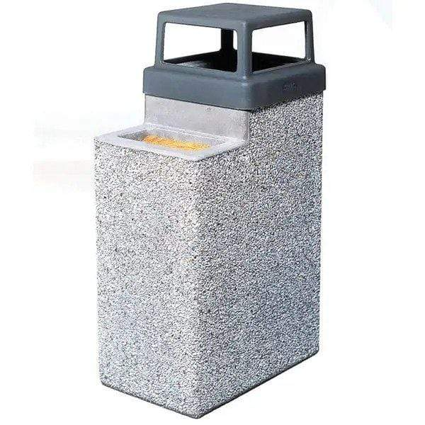 Wausau Tile 4 Way Open Top 9 Gallon Concrete Trash Receptacle with Ashtray - TF2070 - Trash Cans Depot