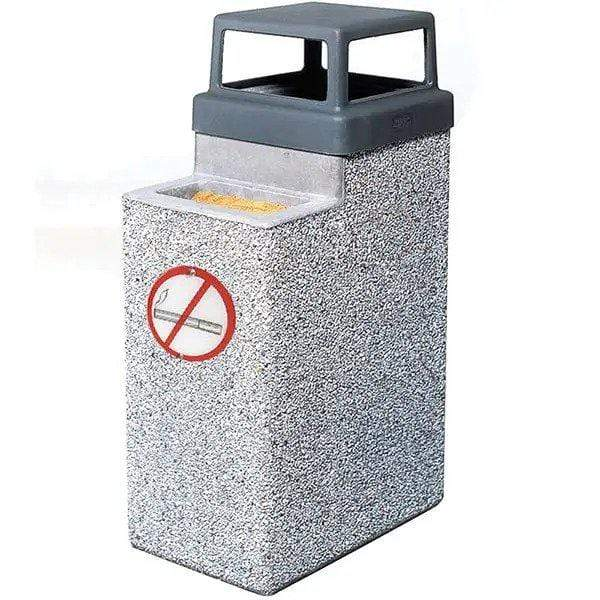 Wausau Made 4 Way Open Top 9 Gallon Concrete Trash Receptacle with Ashtray with No Smoking Logo - TF2075 - Trash Cans Depot