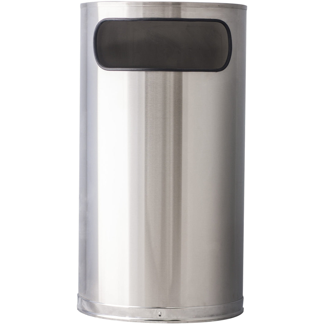 Witt Industries Half Round 9 Gallon Stainless Steel Trash Receptacle - 9HR-SS - Trash Cans Depot