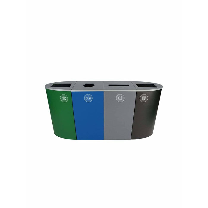 Busch Systems Spectrum 92 Gallon Ellipse-Cube Four Stream Steel Recycling Receptacle - 101208 - Trash Cans Depot