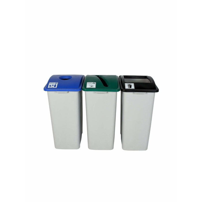 Busch Systems Waste Watcher XL 96 Gallon Triple Stream Plastic Recycling Receptacle - 101338 - Trash Cans Depot