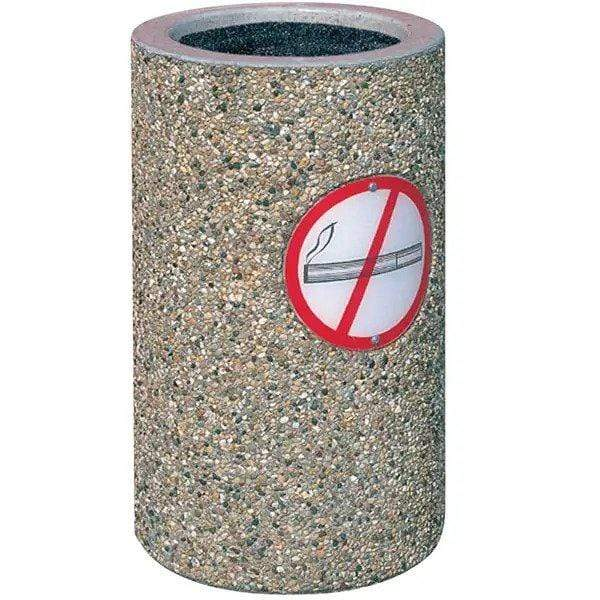 Wausau Tile Round Concrete Cigarette Receptacle Ashtray with No Smoking Logo - TF2005 - Trash Cans Depot