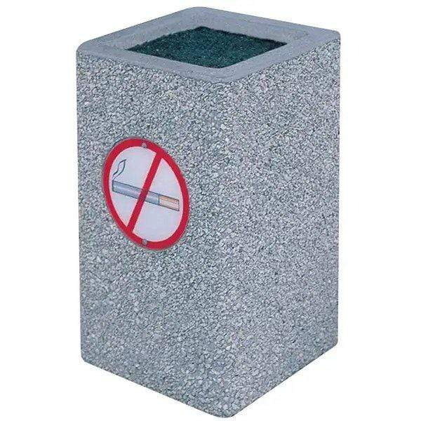 Wausau Made Square Concrete Cigarette Receptacle Ashtray with No Smoking Logo - TF2045 - Trash Cans Depot