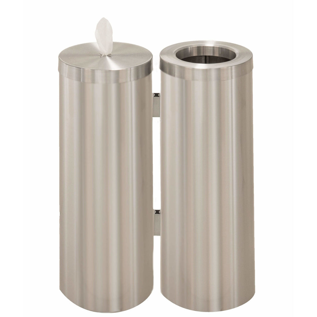 Glaro Satin Aluminum Disinfecting Wipe Dispenser and 8 Gallon Waste Receptacle Station - WD1030-SA-AW1 - Trash Cans Depot