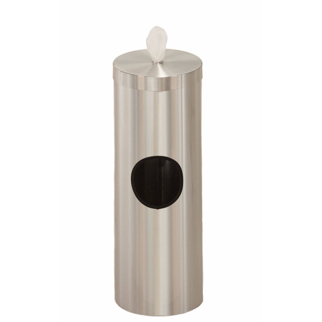 Glaro Satin Aluminum Disinfecting Wipe Dispenser With 2 Gallon Waste Receptacle - F1028-SA-AW1 - Trash Cans Depot