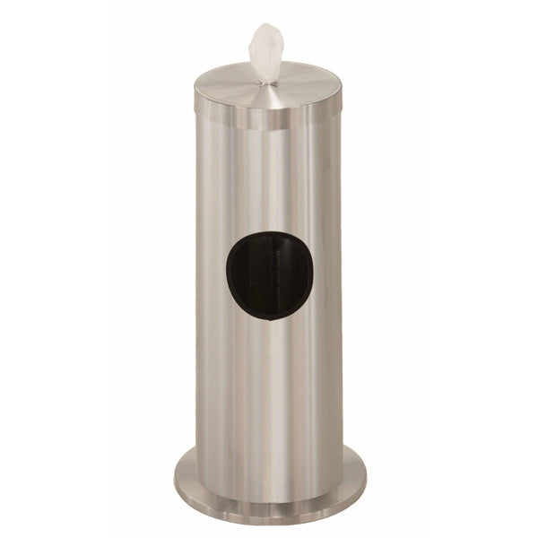 Glaro Satin Aluminum Disinfecting Wipe Dispenser With 2 Gallon Waste Receptacle - F1029-SA-AW1 - Trash Cans Depot