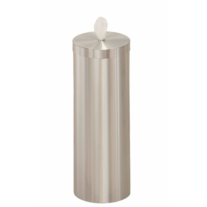 Glaro Satin Aluminum Disinfecting Wipe Dispenser With Extra Storage - F1026-SA-AW1 - Trash Cans Depot