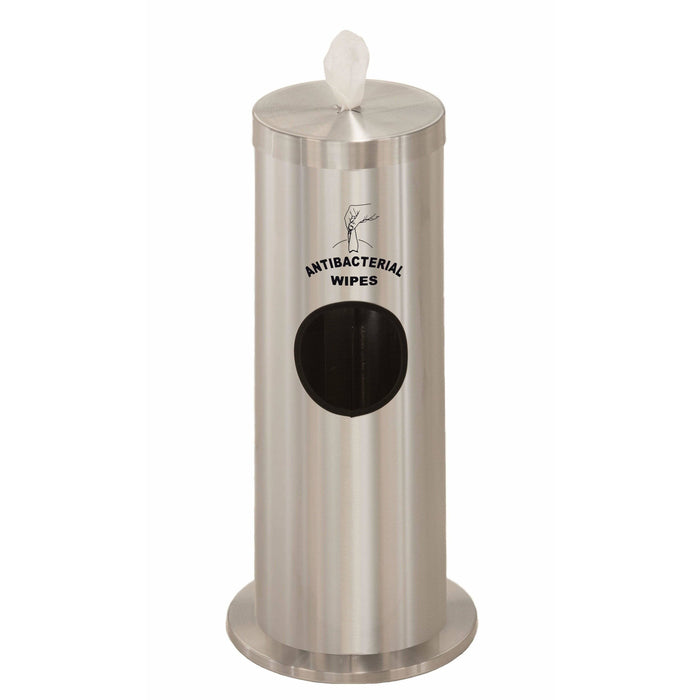 Glaro Satin Aluminum Silkscreened Disinfecting Wipe Dispenser With 2 Gallon Waste Receptacle - F1029-S-SA-AW1 - Trash Cans Depot