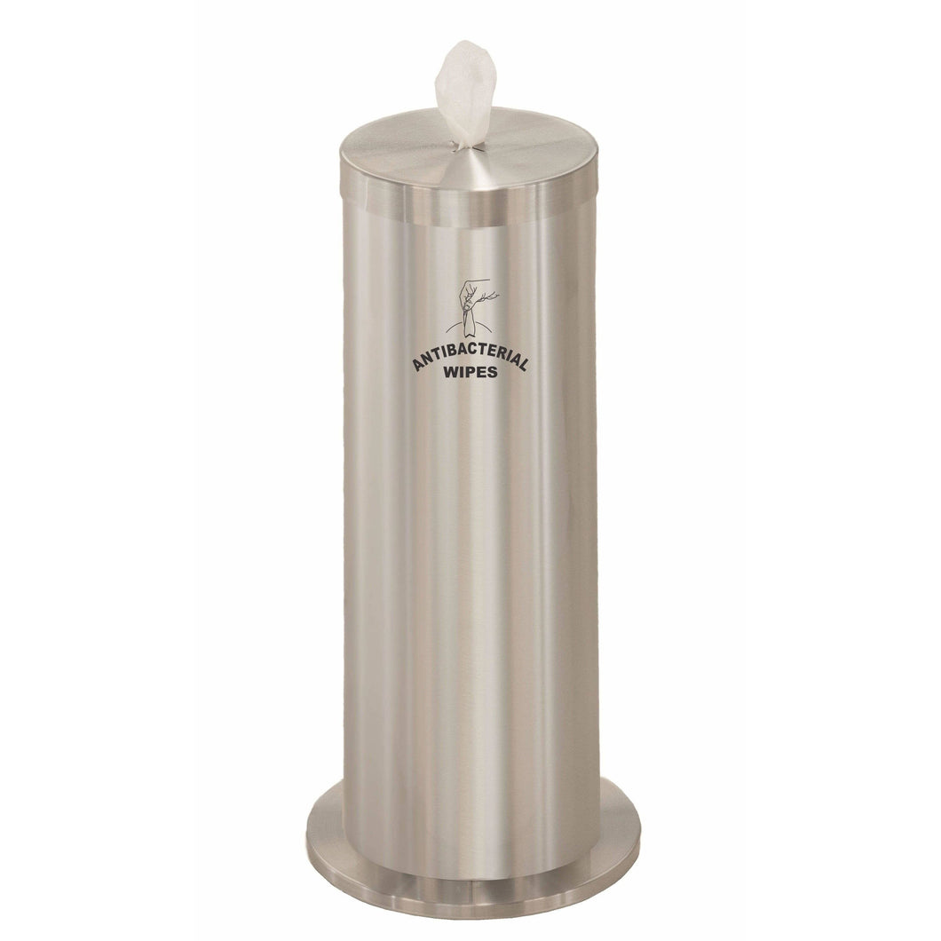 Glaro Satin Aluminum Silkscreened Disinfecting Wipe Dispenser With Extra Storage - F1027-S-SA-AW1 - Trash Cans Depot