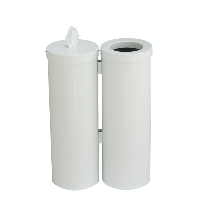 Glaro Steel Disinfecting Wipe Dispenser and 8 Gallon Waste Receptacle Station - WD1030-WH-AW1 - Trash Cans Depot