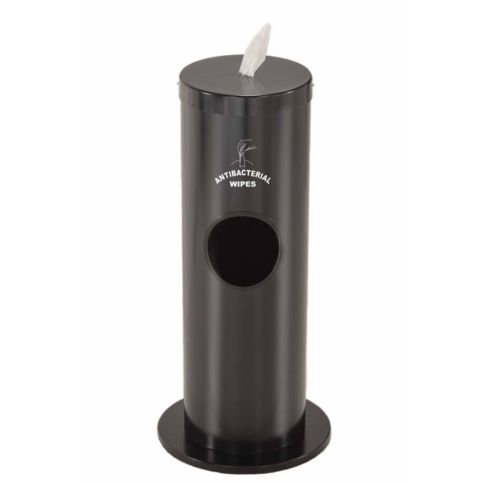 Glaro Steel Silkscreened Disinfecting Wipe Dispenser With 2 Gallon Waste Receptacle - F1029-S-BK-AW1 - Trash Cans Depot