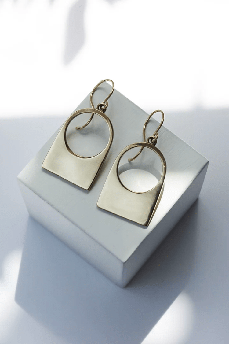 L. Greenwalt Jewelry Women's Jewelry Yellow Bronze Contour Earrings