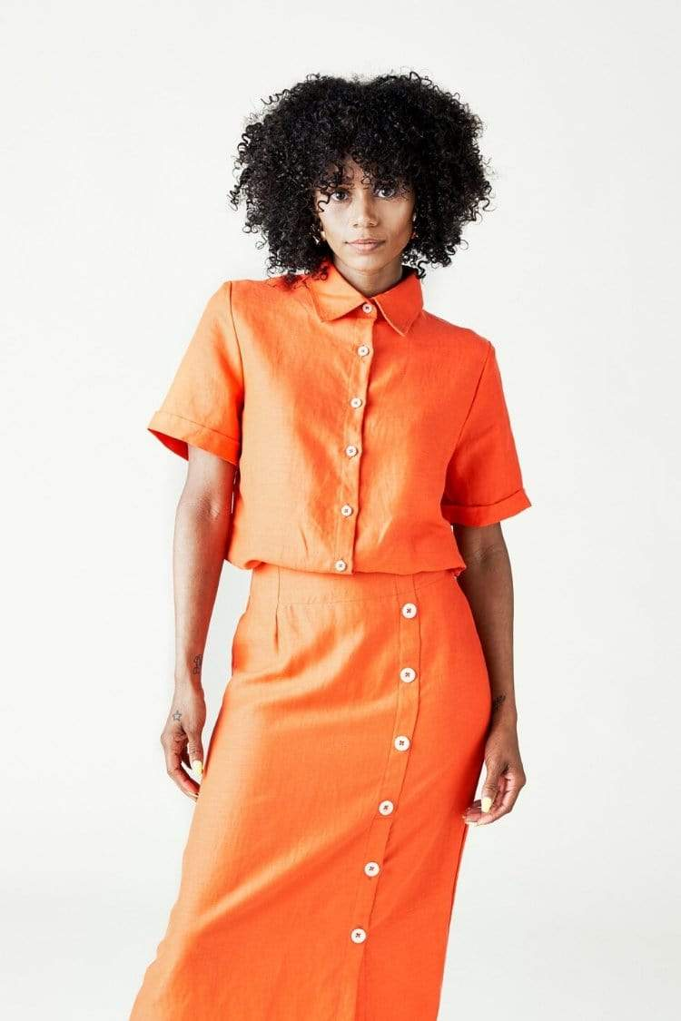 Left Edit Women's Tops and Tees The Isla Shirt • Spicy Orange
