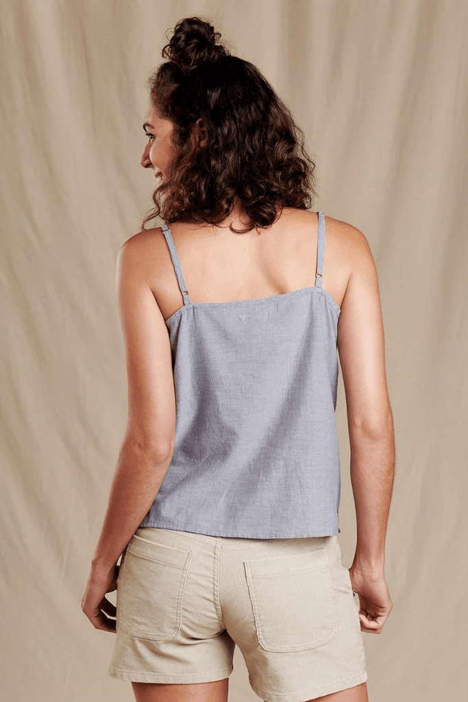 Toad & Co. Women's Tops Airbrush Button Tank • High Tide Chambray