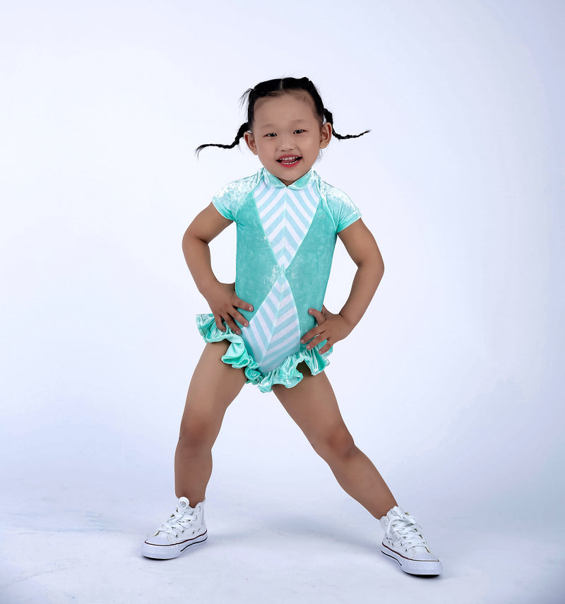 Little Mint Fairy- Kids Ruffle Leotard