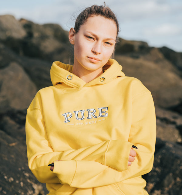 The Varsity Hoodie - Sunset Yellow - PURE CLOTHING