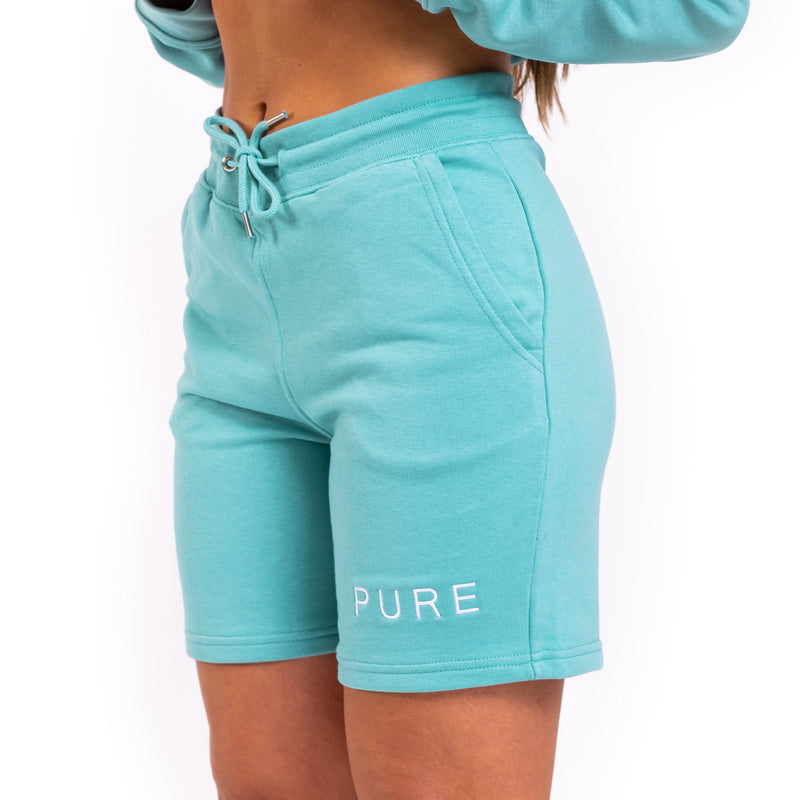 The Tempis Shorts - Teal Monstera