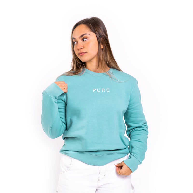 The Coral Sweatshirt - Teal Monstera